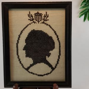 Vintage Framed Cross Stitch Bust